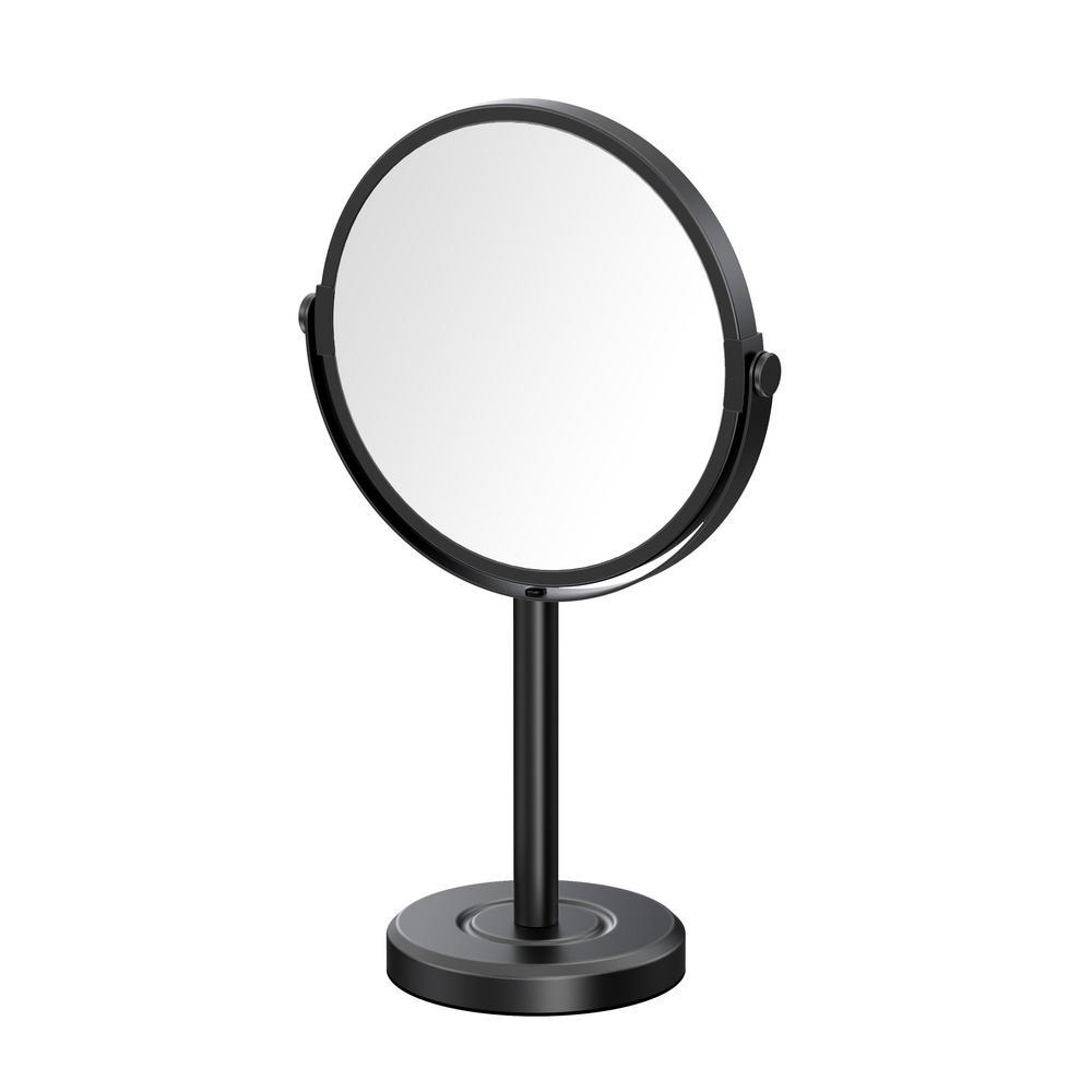 Latitude II Minimalist 12.5 in. Countertop 3x Magnification Makeup Mirror in Matte Black
