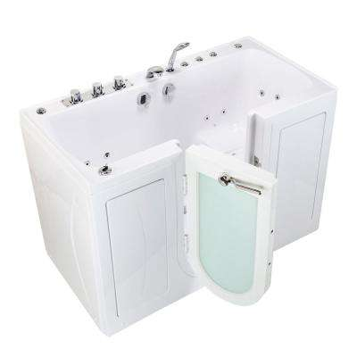 Tub4Two 60 in. Walk-In Whirlpool and Air Bathtub in White, Left Outward Door, Thermostatic Faucet, 2 in. Dual Drain