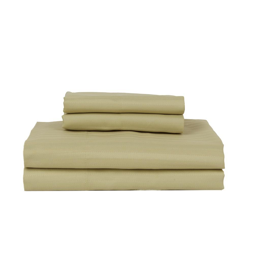 PERTHSHIRE Green 420-Thread Count Cotton Rich Stripe Sateen Queen Sheet Set