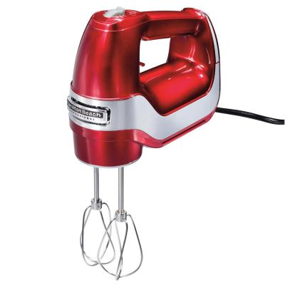 5-Speed Red and Chrome Hand Mixer with Stainless Steel Twisted Wire Beaters, Whisk, Dough Hooks and Snap-On Storage Case