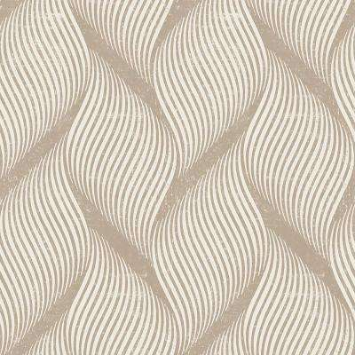 Wave Almond Self-Adhesive Removable Wallpaper