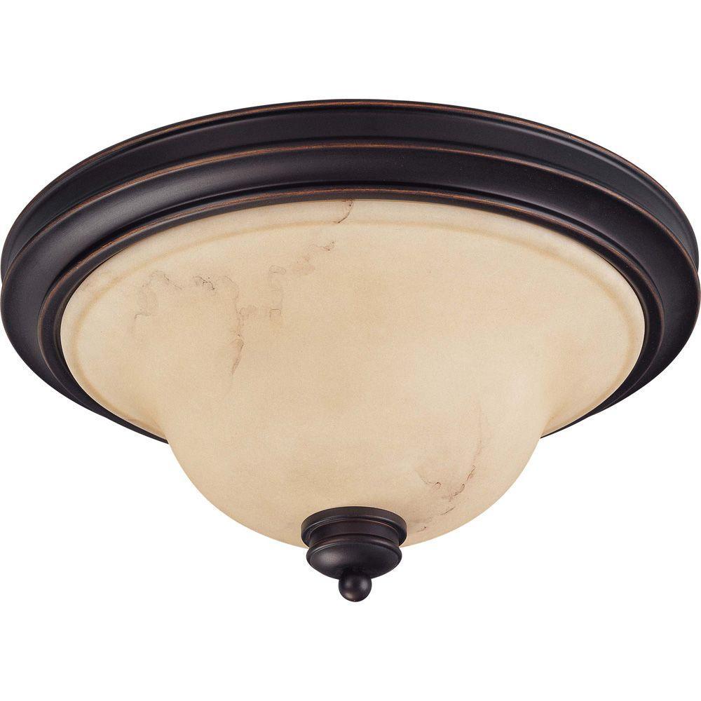 2-Light Copper Espresso Flushmout Dome with Honey Marble Glass
