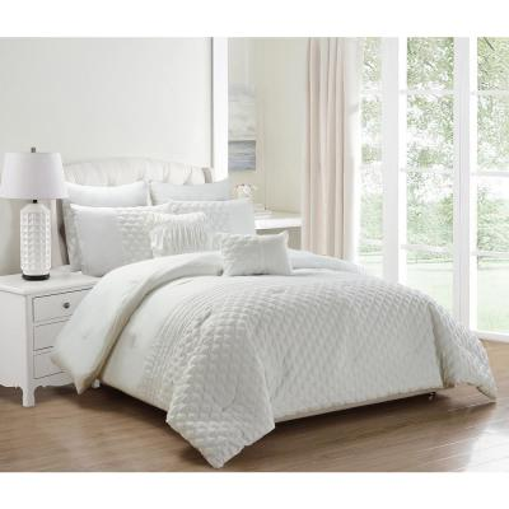 Grey Yellow 8 Piece White Oversize Comforter Set Floral Fine Printed California King Size Bedding
