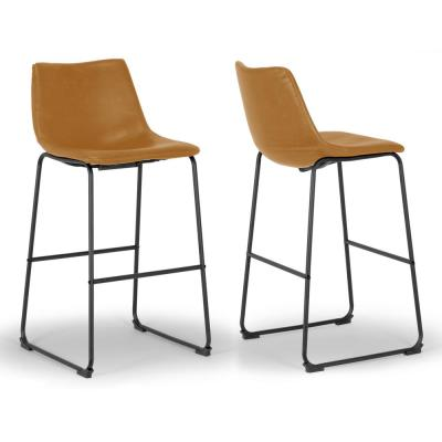 Set of 2 Adan Iron Frame Vintage Cappuccino Faux Leather Bar Stool