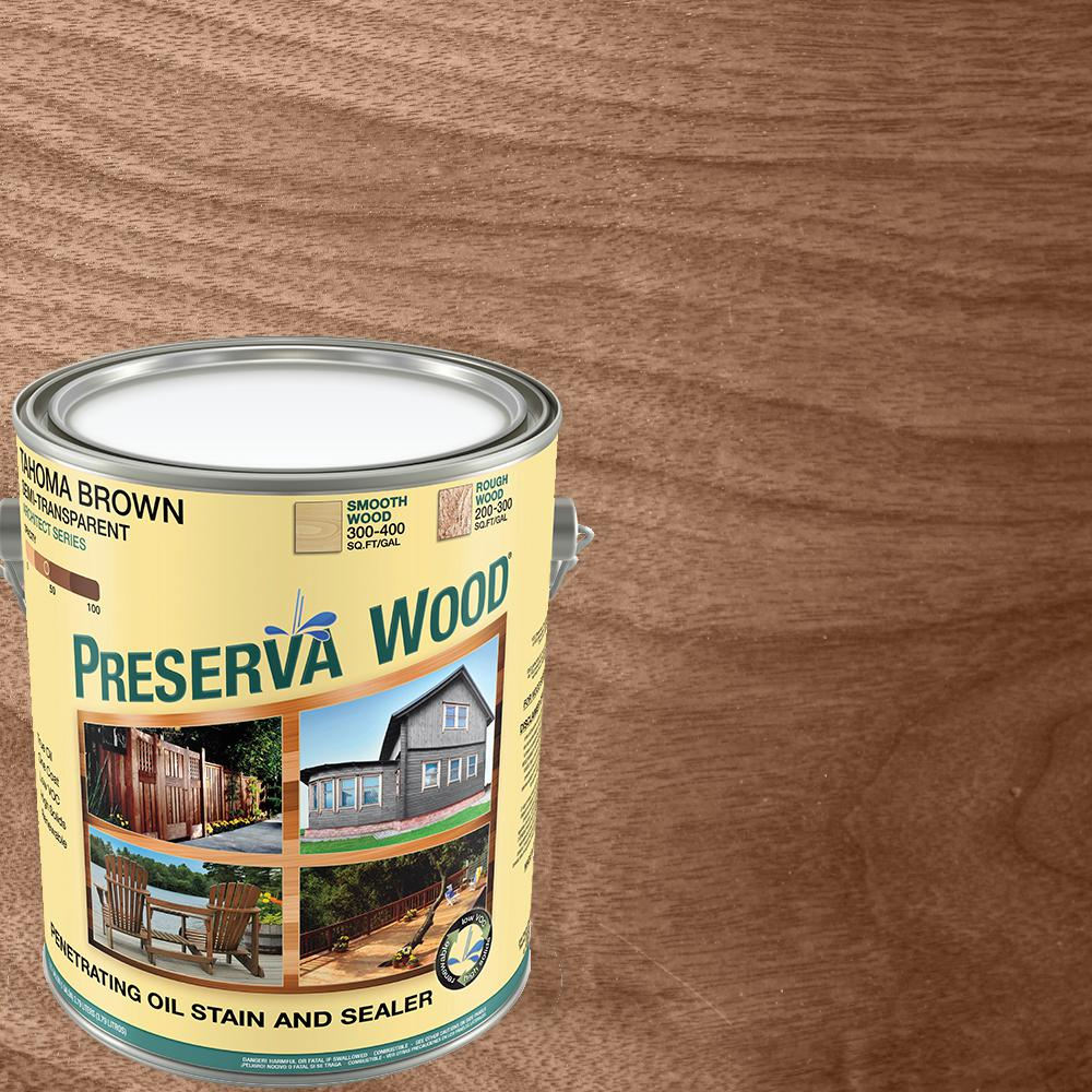 Preserva Wood 1 gal. 100 VOC Semi-Transparent Oil-Based Tahoma Brown Exterior Stain