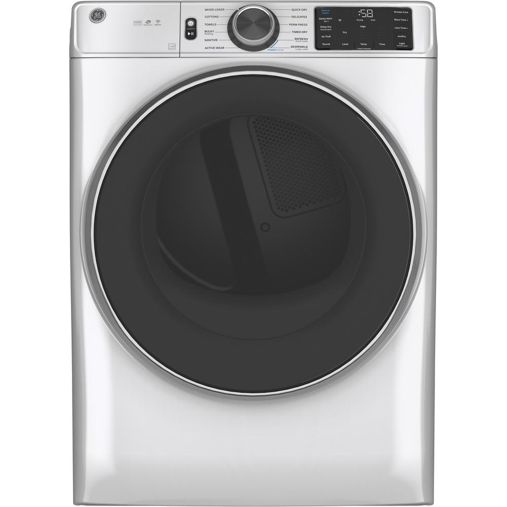 GE 7.8 cu. ft. Smart 240-Volt White Stackable Electric Vented Dryer with Steam and Sanitize Cycle, ENERGY STAR