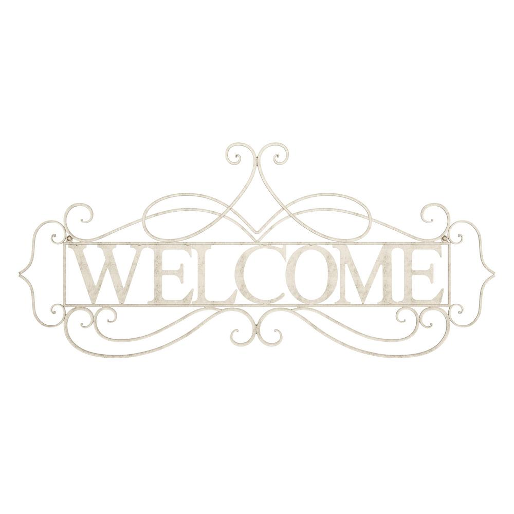 """Welcome"" Decorative Rustic Metal Cutout Wall Sign"