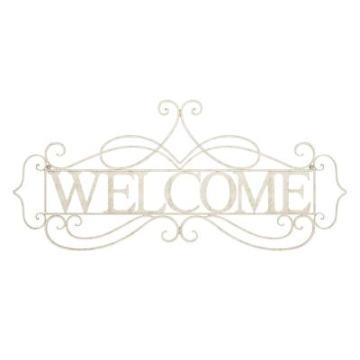 """""""Welcome"""" Decorative Rustic Metal Cutout Wall Sign"""