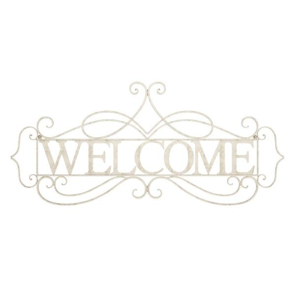 ''Welcome'' Decorative Rustic Metal Cutout Wall Sign
