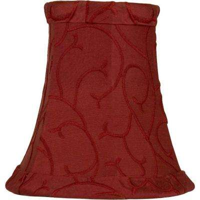 Stretch Bell Merlot Dupione Silk Chandelier Shade with Embroidered Scroll Pattern