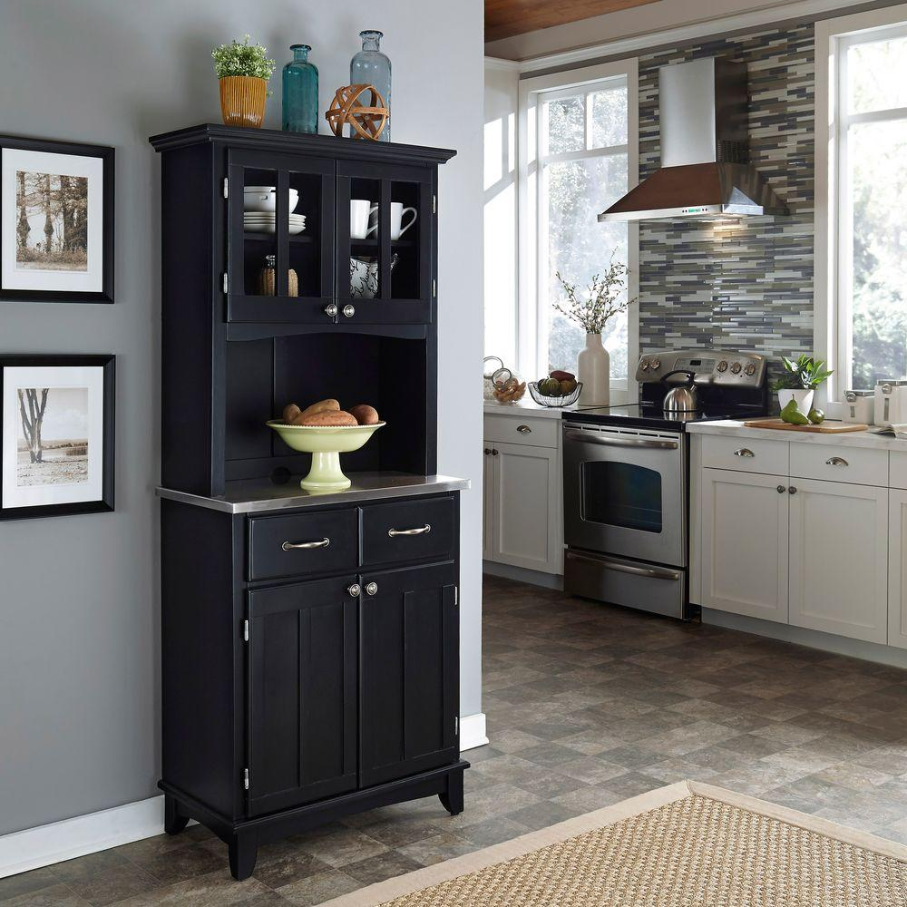 Home Styles Black and Stainless Steel Buffet with Hutch