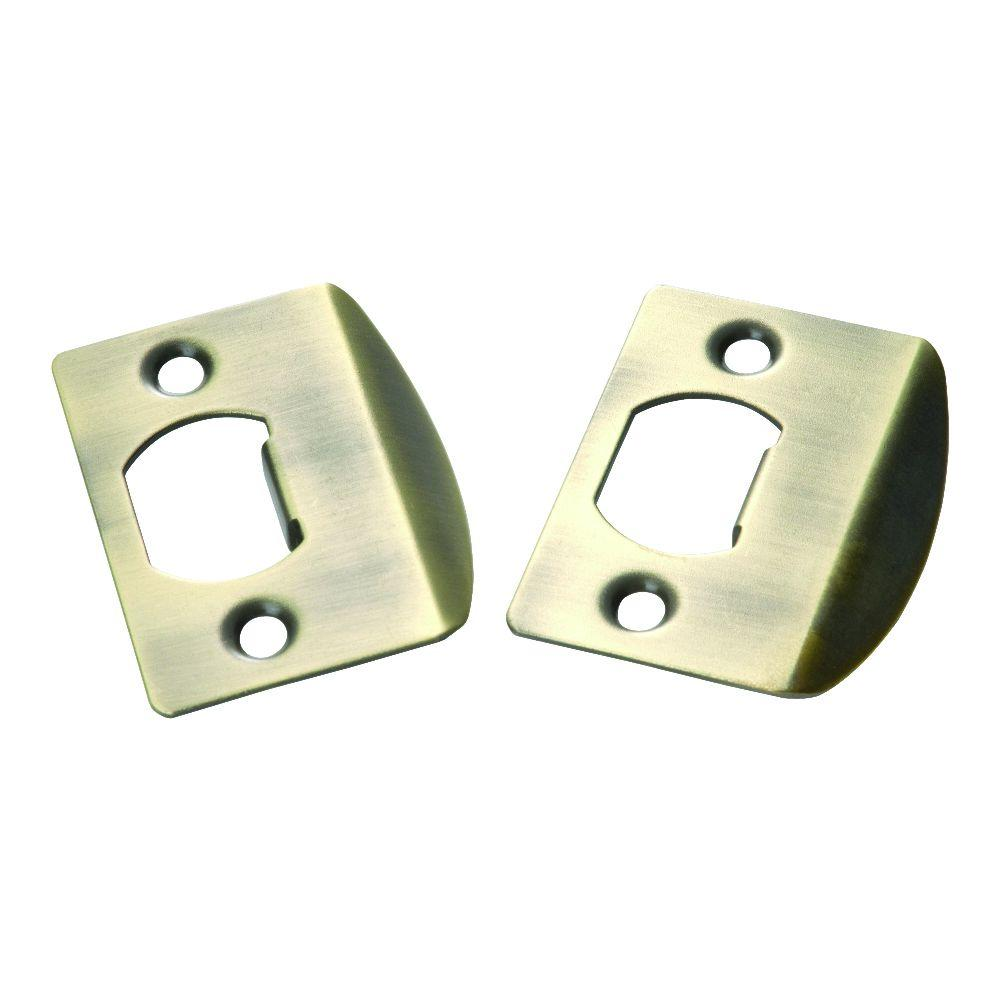 Antique Brass Full Lip Door Strikes (2-Pack)