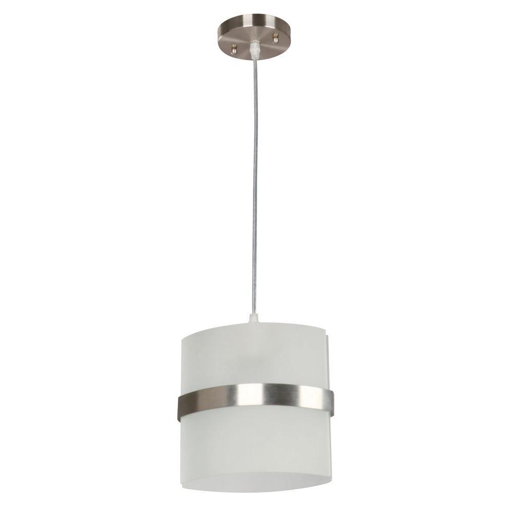Hampton Bay Kyneton 1-Light Brushed Nickel Mini Pendant