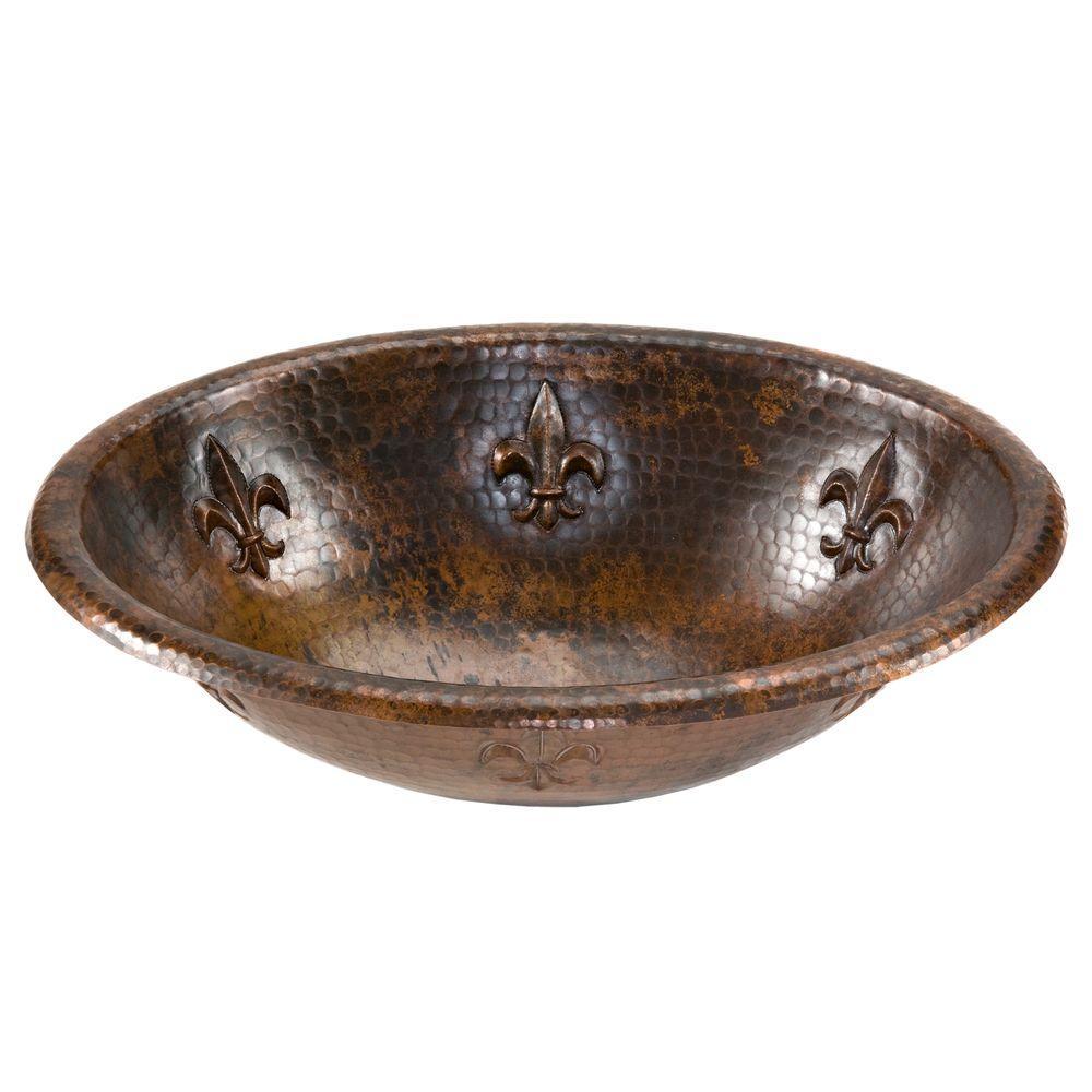 Premier Copper Products Self Rimming Oval Fleur De Lis