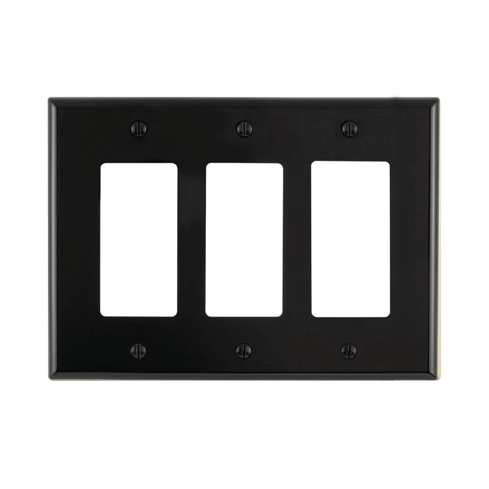 Leviton Decora 3 Gang Midway Nylon Wall Plate Black R55 Pj263 00e 15 Amp 4way Switch Whiter58056042ws The Home Depot