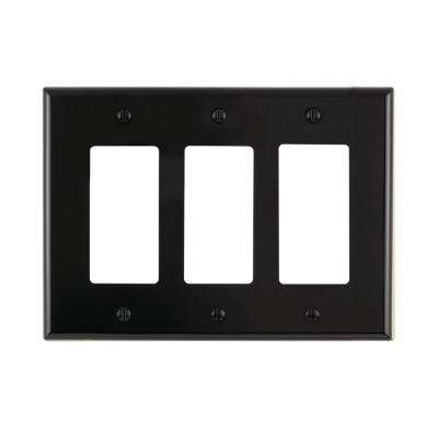 Decora 3-Gang Midway Nylon Wall Plate, Black