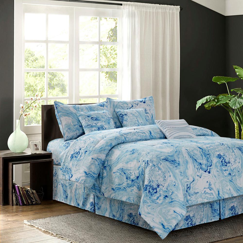 Watercolor Blue 7 Piece Full Comforter Set Bedding