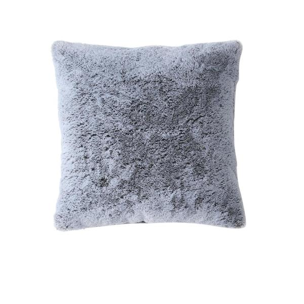 Morgan Home Millburn Faux Fur Grey Solid Faux Fur Polyester in. x 18 in. Throw Pillow