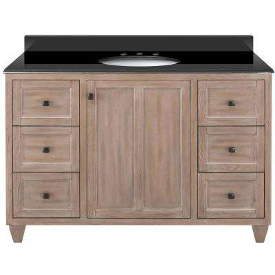 Banks 49 in. W x 22 in. D Bath Vanity in Antique Ash with Granite Vanity Top in Midnight Black with Oval White Basin