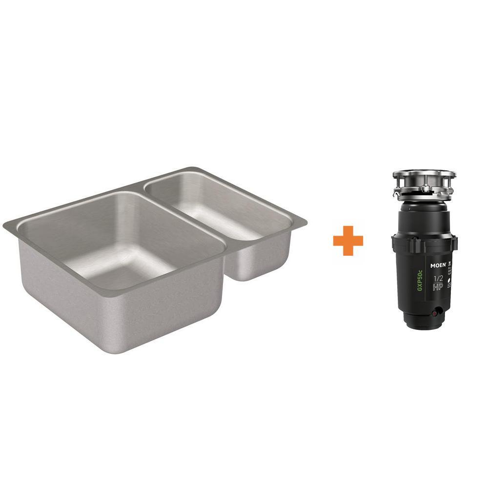 MOEN MOEN 2000 Series Undermount Stainless Steel 24 in. Double Basin Kitchen Sink with GX Pro Series 1/2 HP Garbage Disposal, Silver