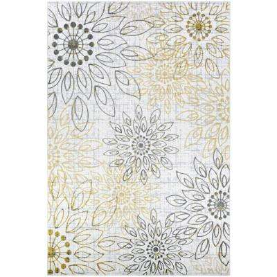 Calinda Summer Bliss Gold-Silver-Ivory 8 ft. x 11 ft. Area Rug