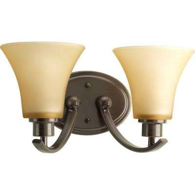 Joy Collection 2-Light Antique Bronze Bathroom Vanity Light with Glass Shades