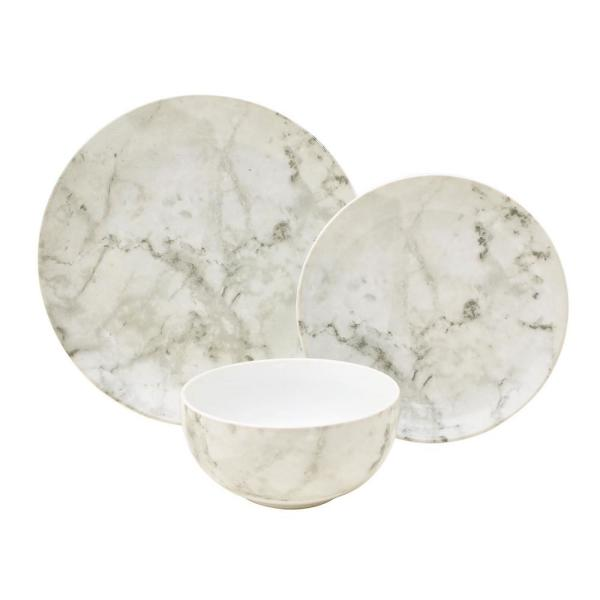 222 Fifth Marble White 12-Piece Dinnerware Set 3644WH797A7P07