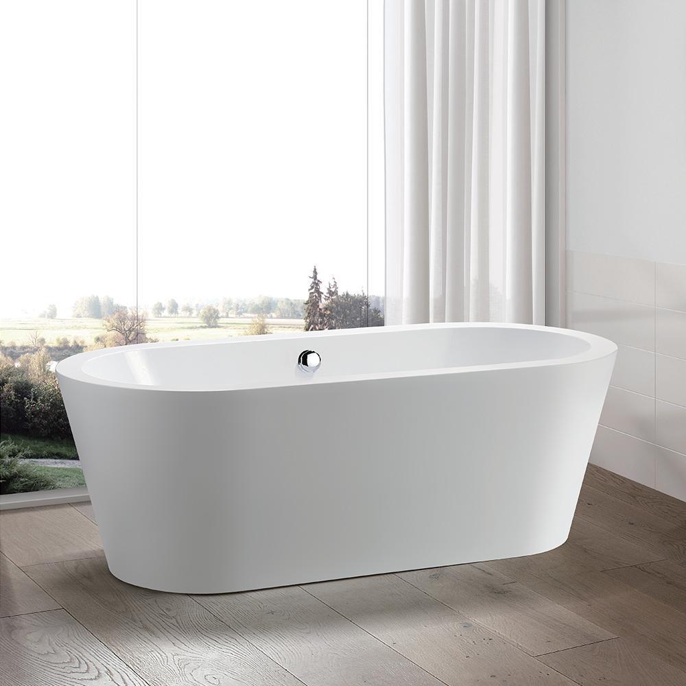 Bathroom Tubs Home Depot: Vanity Art Talence 59 In. Acrylic Flatbottom Freestanding