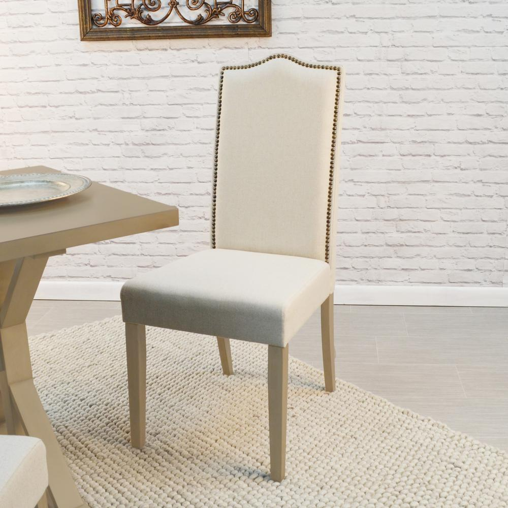 linen dining chairs rustic carolina cottage romero cream linen parsons dining chair chair1817wgln