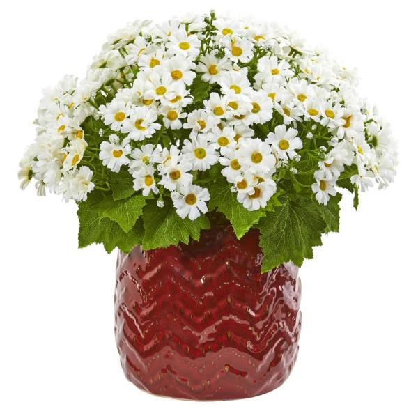 Nearly Natural Indoor Daisy Artificial Arrangement in Red Planter 1875-WH