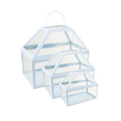 8.25 in. to 12 in. Light Powder Blue Metal and Glass Paneled Nesting Outdoor Greenhouse Terrariums (Set of 3)