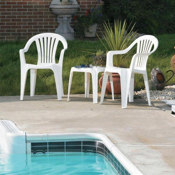 White Patio Low Back Chair 8234 48 4301