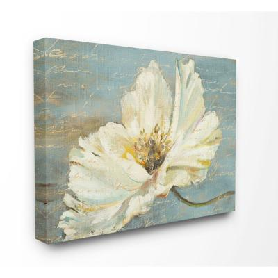"36 in. x 48 in. ""Large Flower With Word Texture Blue Painting"" by Patricia Pinto Canvas Wall Art"