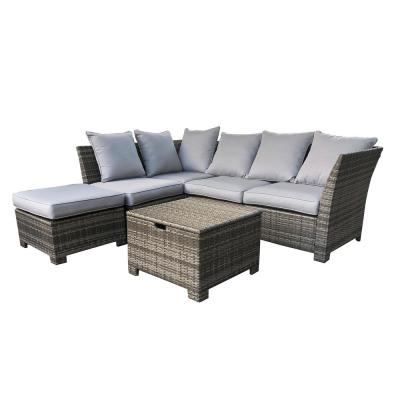 6-Piece Wicker Outdoor Patio Conversation Set with Gray Cushion's