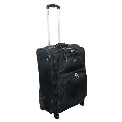 24 in. Black Upright Spinner Suitcase