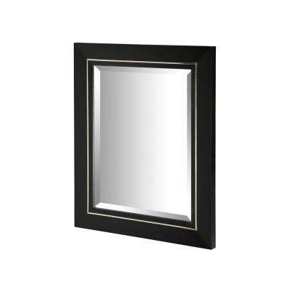 Manhattan 30 in. x 25 in. Framed Wall Mirror in Black