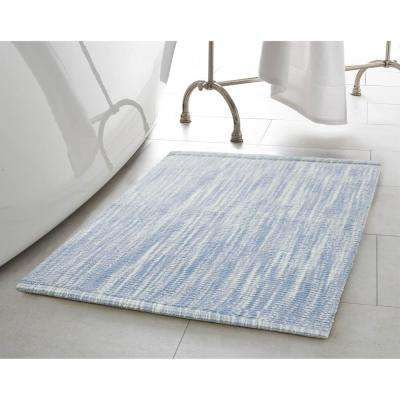 Taylor Reversible Cotton Slub 17 in. x 24 in./21 in. x 34 in. 2-Piece Bath Rug Set in Pale Blue