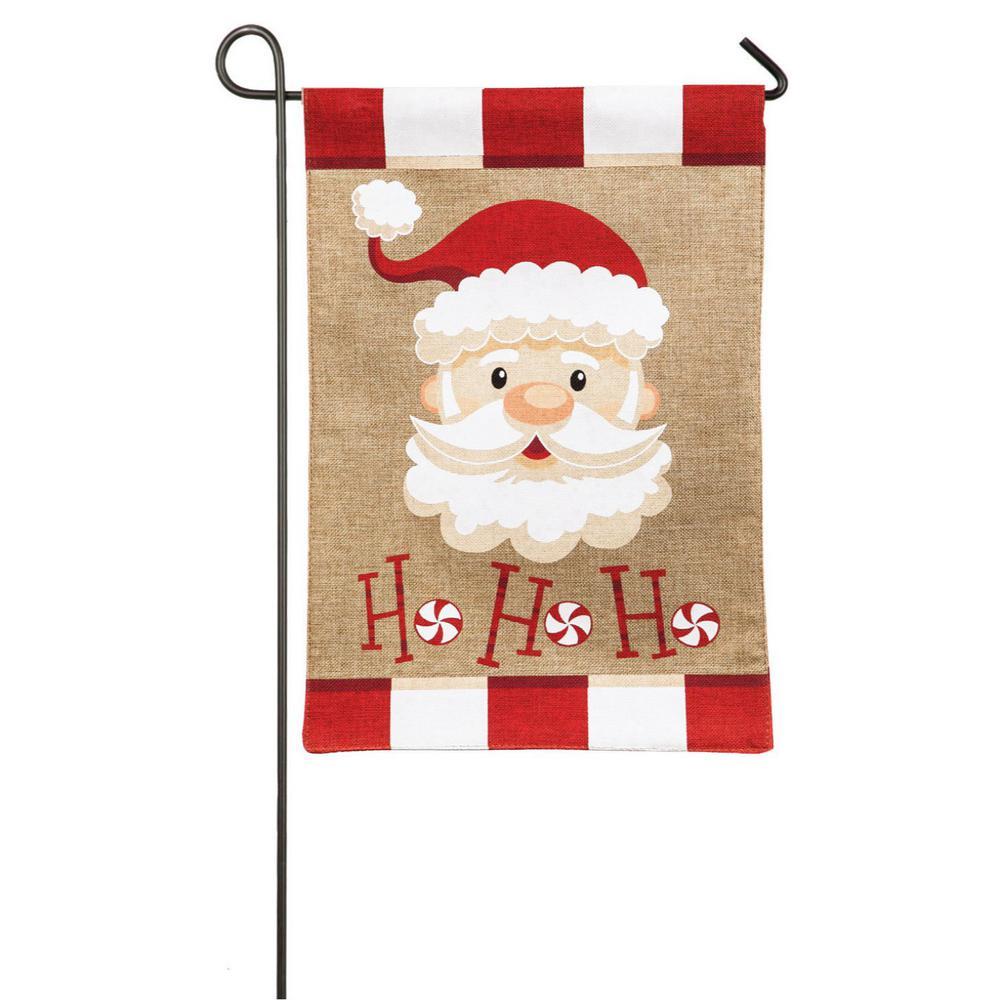 18 in. x 12.5 in. Santa Ho Ho Ho Garden Burlap Flag