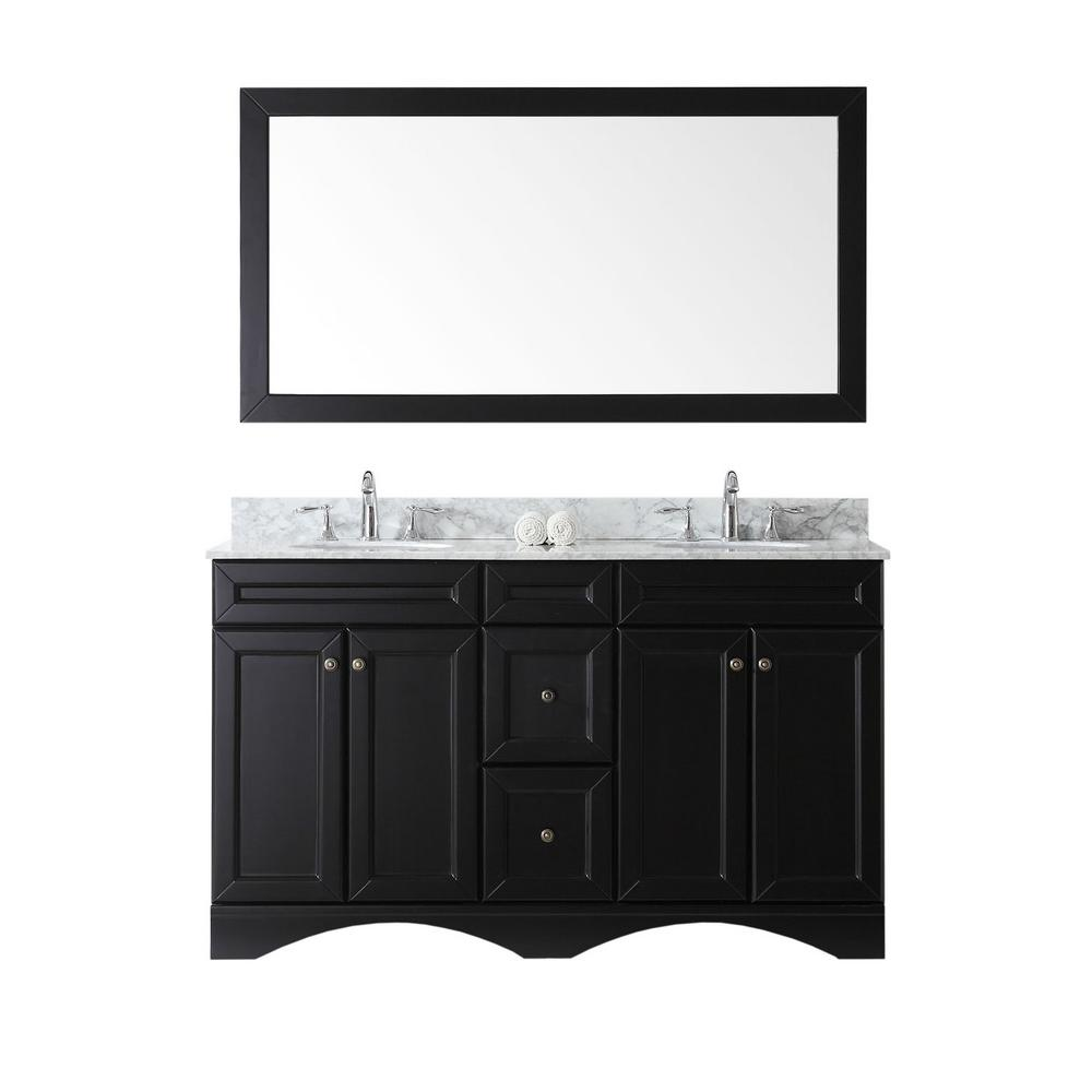 Virtu USA Talisa 60 in. W Bath Vanity in Espresso with Marble Vanity Top in White with Round Basin and Mirror and Faucet
