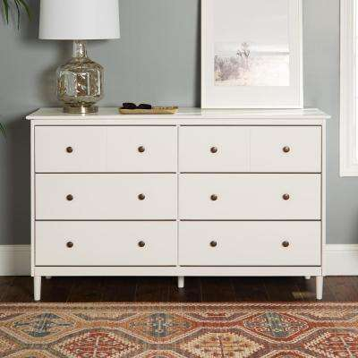 Classic Mid Century Modern 6-Drawer White Solid Wood Dresser