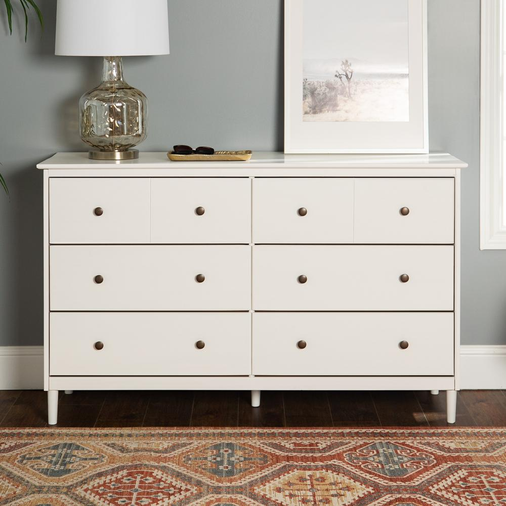 walker edison furniture company classic mid century modern 6 drawer white solid wood dresser hdr6dddrwh the home depot