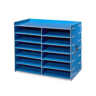 Wood 12 Compartment Paper Literature Organizer Sorter, Blue