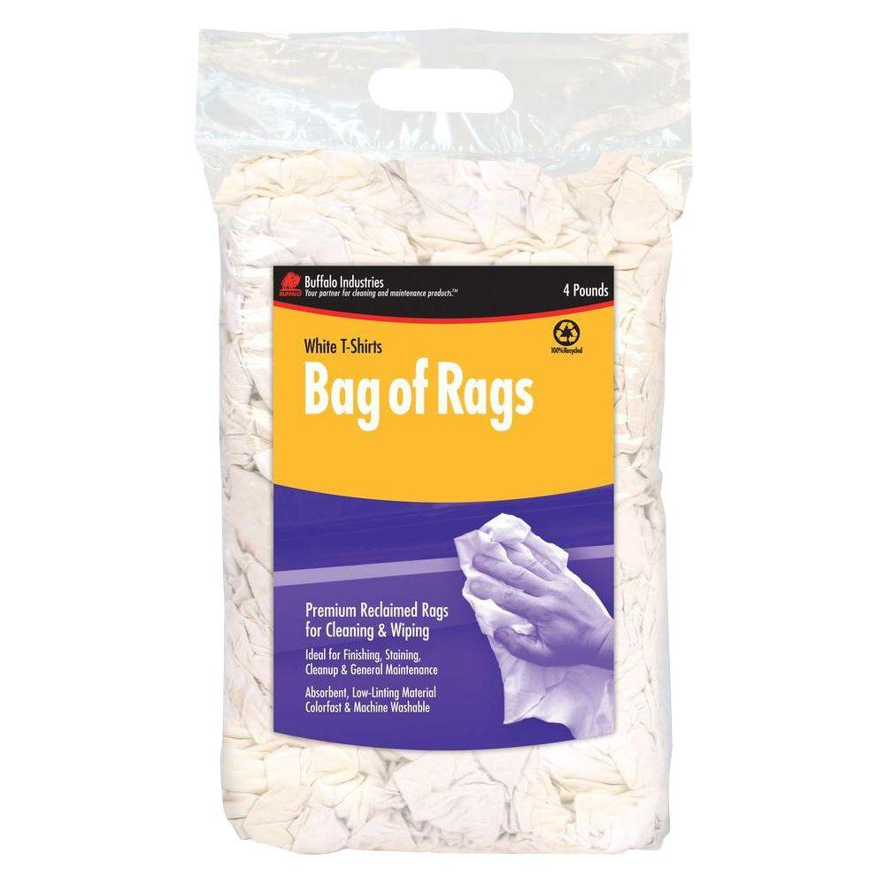 Buffalo Industries 4 lb. Recycled White Cloth Rags Compressed Poly Bag
