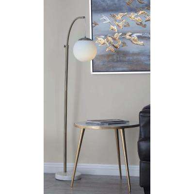 56 in. Modern Metal and Marble Floor Globe Lamp