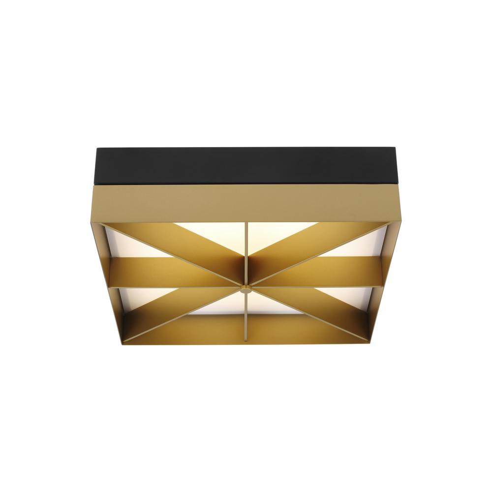 Loom 20-Watt Black/Gold Integrated LED Flushmount