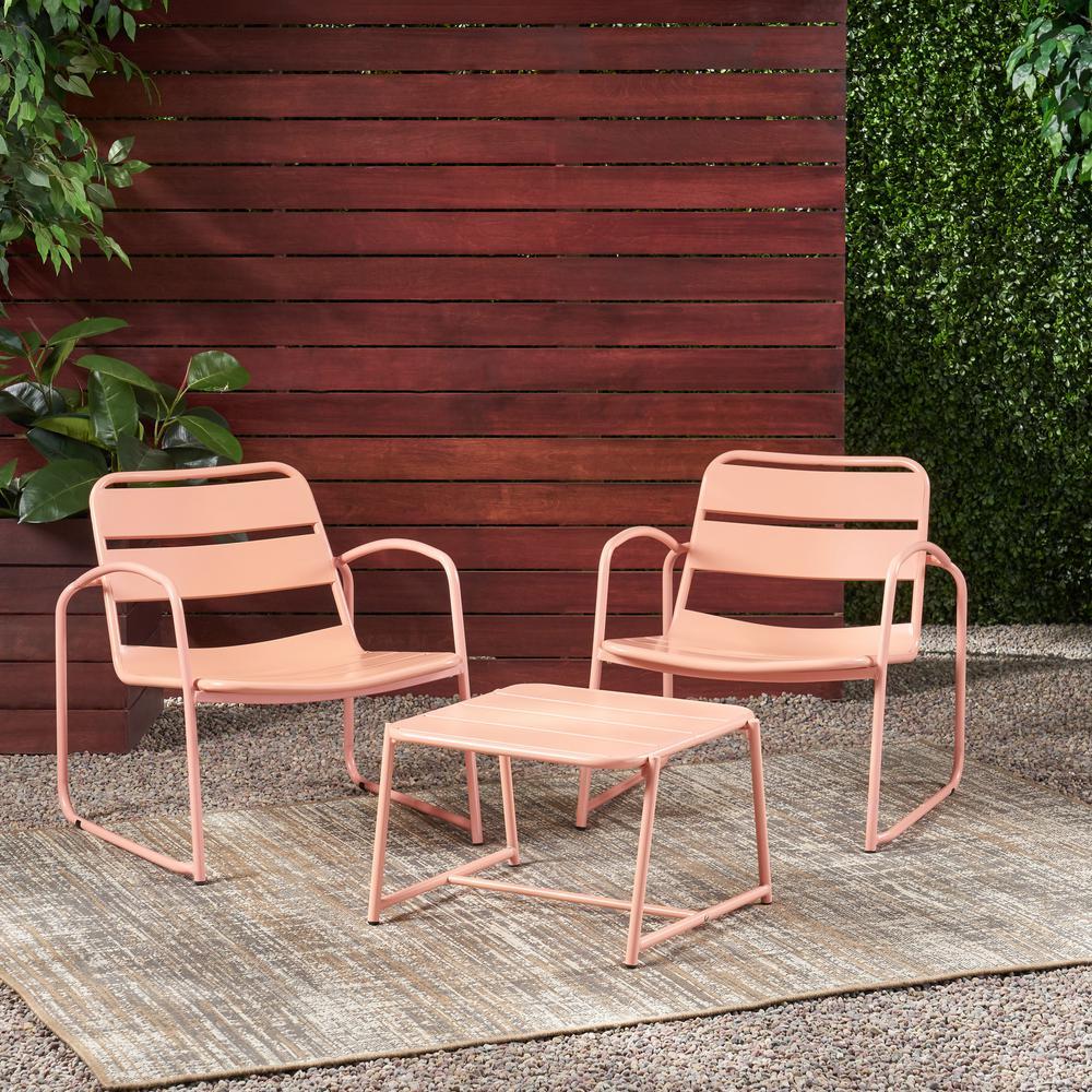Cowan Matte Coral 3-Piece Metal Patio Conversation Seating Set