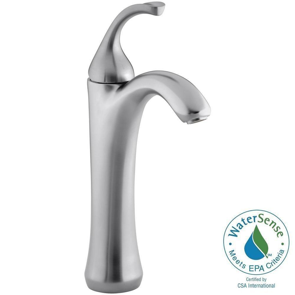 KOHLER Forte Single Hole 1-Handle Mid-Arc Bathroom Faucet in Brushed Chrome