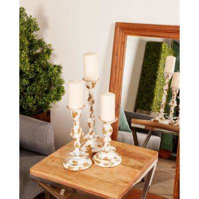 Distressed White Baluster Iron Candle Holders (Set of 3)