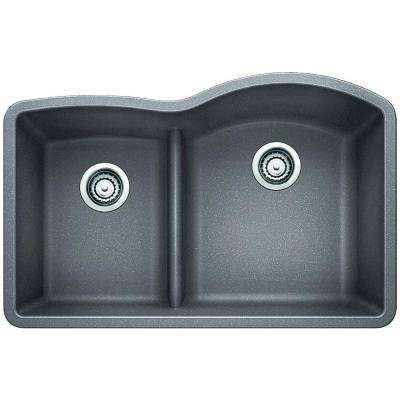 Diamond Undermount Granite Composite 32 in. 0-Hole Reverse Low-Divide Double Bowl Kitchen Sink in Metallic Gray