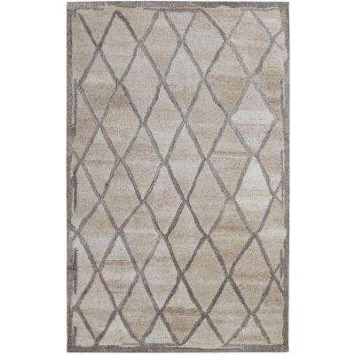 Posh Lattice Ivory/Grey 2 ft. x 4 ft. Area Rug